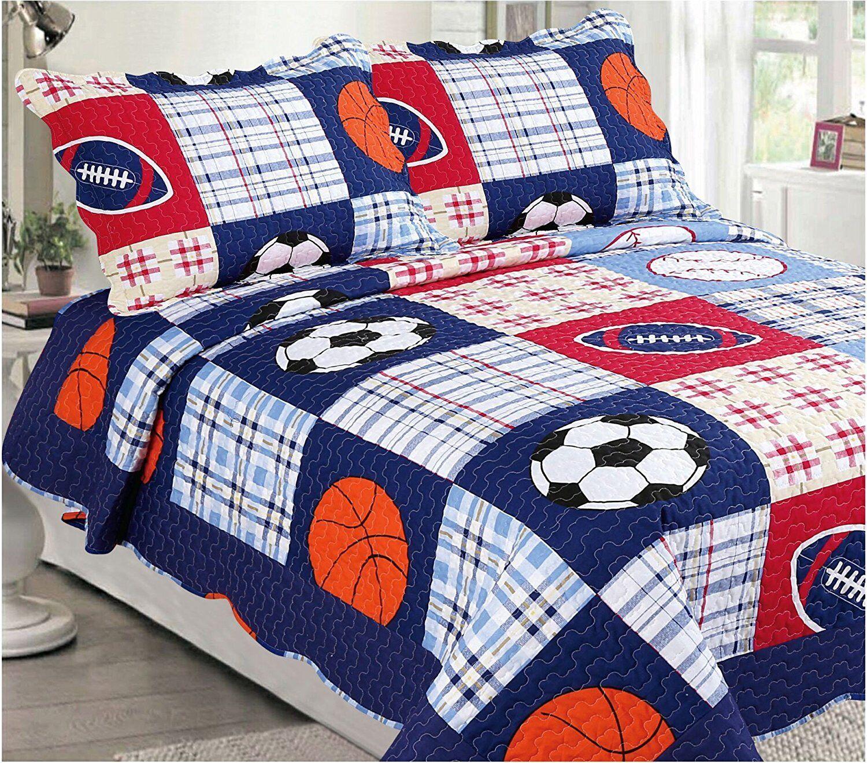 Fancy Linen 3pc Full Bedspread Quilt Set Boys Sports Football Dark blueeeee New