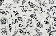 72x Black TEMPORARY TATTOOS - Acid Free Dry Skin Art Stickers - Bulk Wholesale