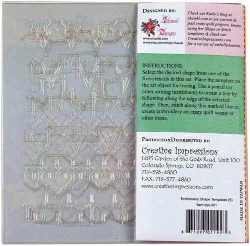 Creative Impressions Embroidery Shape Template Set  5//Pkg 871097011923