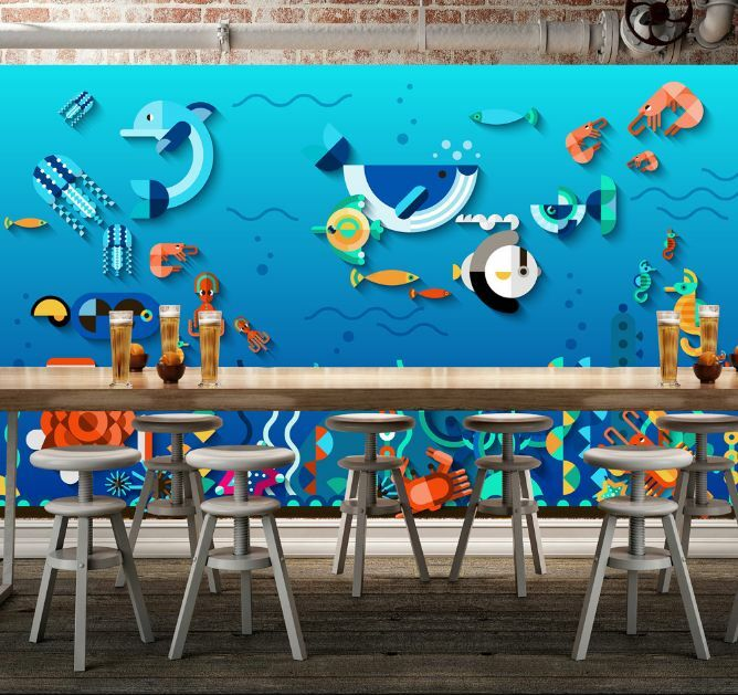 3D Ocean Cartoon Fish Shrimp Wall Paper Wall Print Decal Wall Deco AJ WALLPAPER