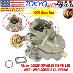 Carb Carburetor Fit DODGE Chrysler 318 Engine Carter BBD 2 BARREL V8