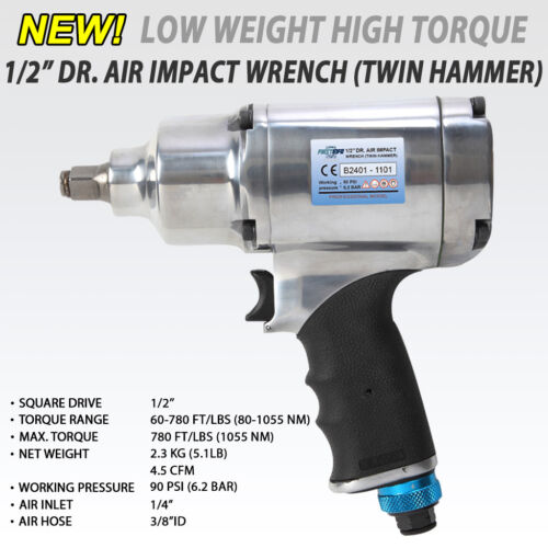 FIT 1/2 Heavy Duty Dr. Air / Pneumatic Impact Wrench 8 Selection 780ft /1055 Nm