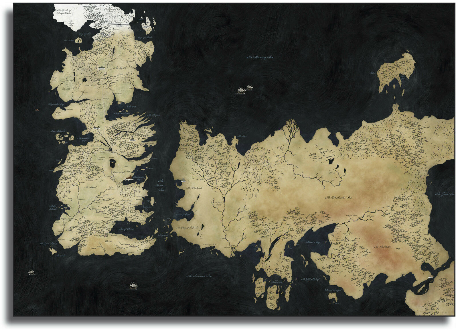 Game Of Thrones Westeros Map Framed Giant CANVAS PRINT  - A0 A1 A2 A3 A4 Größes