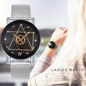 Womens-Casual-Quartz-Stainless-Steel-Band-Marble-Strap-Watch-Analog-Wrist-Watch