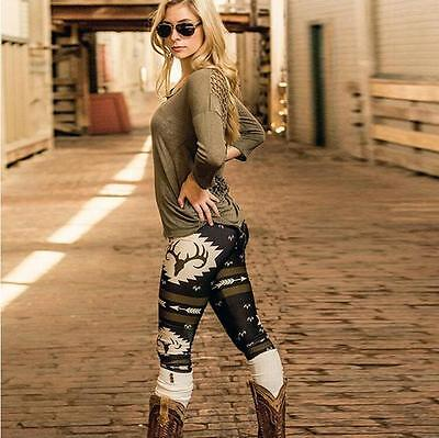 Women Deer Printed Stretch Leggings Pants Exercise Cloth Tight Moda Fitness
