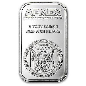 One Ounce .999 Fine Silver ApMex Bar 1 oz