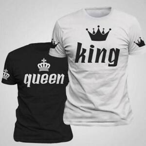 Couple T Shirt Crown King And Queen Love Matching Summer Fashion Unisex Tee Tops Ebay