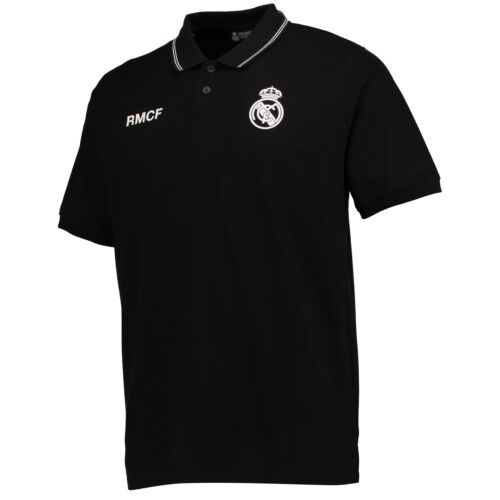 Real Madrid Polyester Training Polohemd Shirt Kurzarm Top Schwarz Herren Fußball