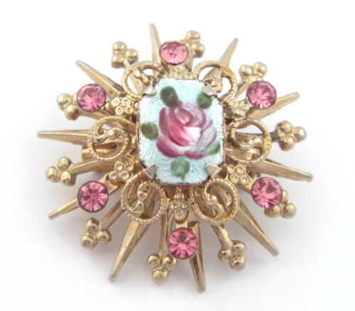 Gold Mother Brooch 1940s Brooch In Original Box Mother/'s Day Gift. Pearl Heart Dangle Hand Painted Pink Rose Vintage Mother Brooch