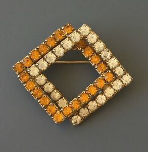 Vintage-prong-set-double-square-brooch-in-gold-tone-metal-with-Crystals