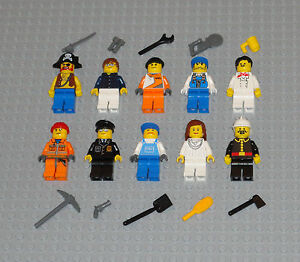 Lego-MINIFIGURES-Lot-10-People-Police-Girl-Pirate-Fireman-Toys-Guys-City-Minifig