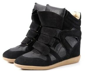 New-Womens-High-Top-Velcro-Strap-Wedge-Hidden-Heel-Sneaker-Ankle-Boots-Shoes