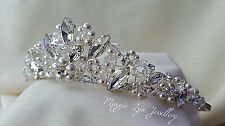 Bridal Tiara Swarovski crystals, ivory pearls. Bride wedding bridal sparkly uk