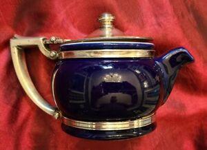 "Railroad or Hotel 6.5"" Cobalt Teapot by International Silver Co Circa 1964"