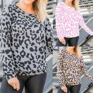 UK Womens Long Sleeve Leopard Print T Shirt Ladies Casual Tops Blouse Size 6-18