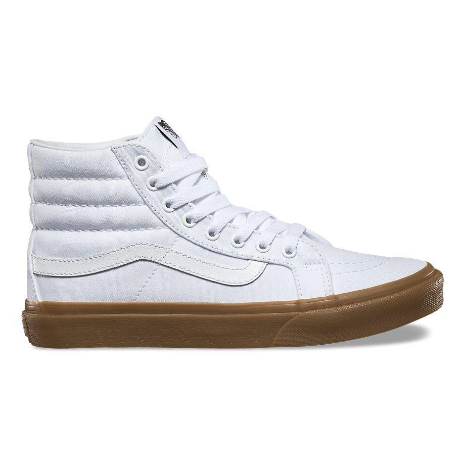 VANS Sk8 Hi Slim (Light Gum) True White High Top Skate WOMEN'S Size 9