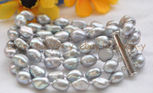 """Beautiful 4 row 8 /""""7-8mm gray baroque freshwater cultured pearl bracelet"""