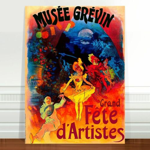 "Vintage French Theatre Poster Art CANVAS PRINT 32x24"" Musee Grevin"