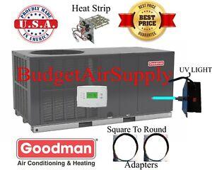 3-Ton-14-seer-Goodman-HEAT-PUMP-034-All-in-1-034-Package-Unit-GPH1436H41-sq2rd-tstat-UV