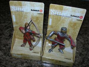 2 Schleich ARCHER /& FOOT SOLDIER 70015 70024 red knight Chevalier Ritter NEW