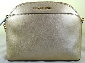 b1a6a3a82214b3 Image is loading Michael-Kors-Emmy-Pale-Gold-Saffiano-Leather-Crossbody-