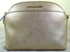 031e8e4350d5 Image is loading Michael-Kors-Emmy-Pale-Gold-Saffiano-Leather-Crossbody-