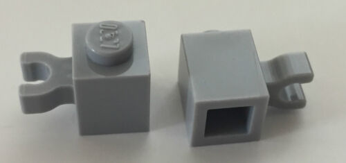 *NEW* 50 Pieces Lego BRICK MODIFIED 1X1 BLUISH GRAY with VERTICAL CLIP 30241