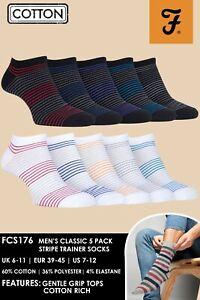 Farah-Lot-de-6-Homme-Coton-Courtes-Basses-Sport-Chaussettes-avec-Rayures