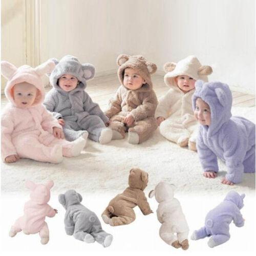 Baby Kinder Jungen Mädchen Schlafanzug Pyjama Karikatur Nachtwäsche Overall Warm