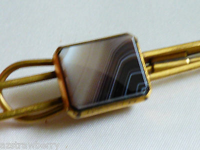 VINTAGE RETRO GOLD TONE METAL GENUINE AGATE STONE MEN'S TIE BAR JEWELRY