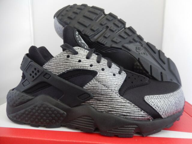 best sneakers 9fb5a ad1c7 NIKE AIR HUARACHE RUN PRM PREMIUM BLACK-METALLIC SILVER SZ 6.5  683818-003