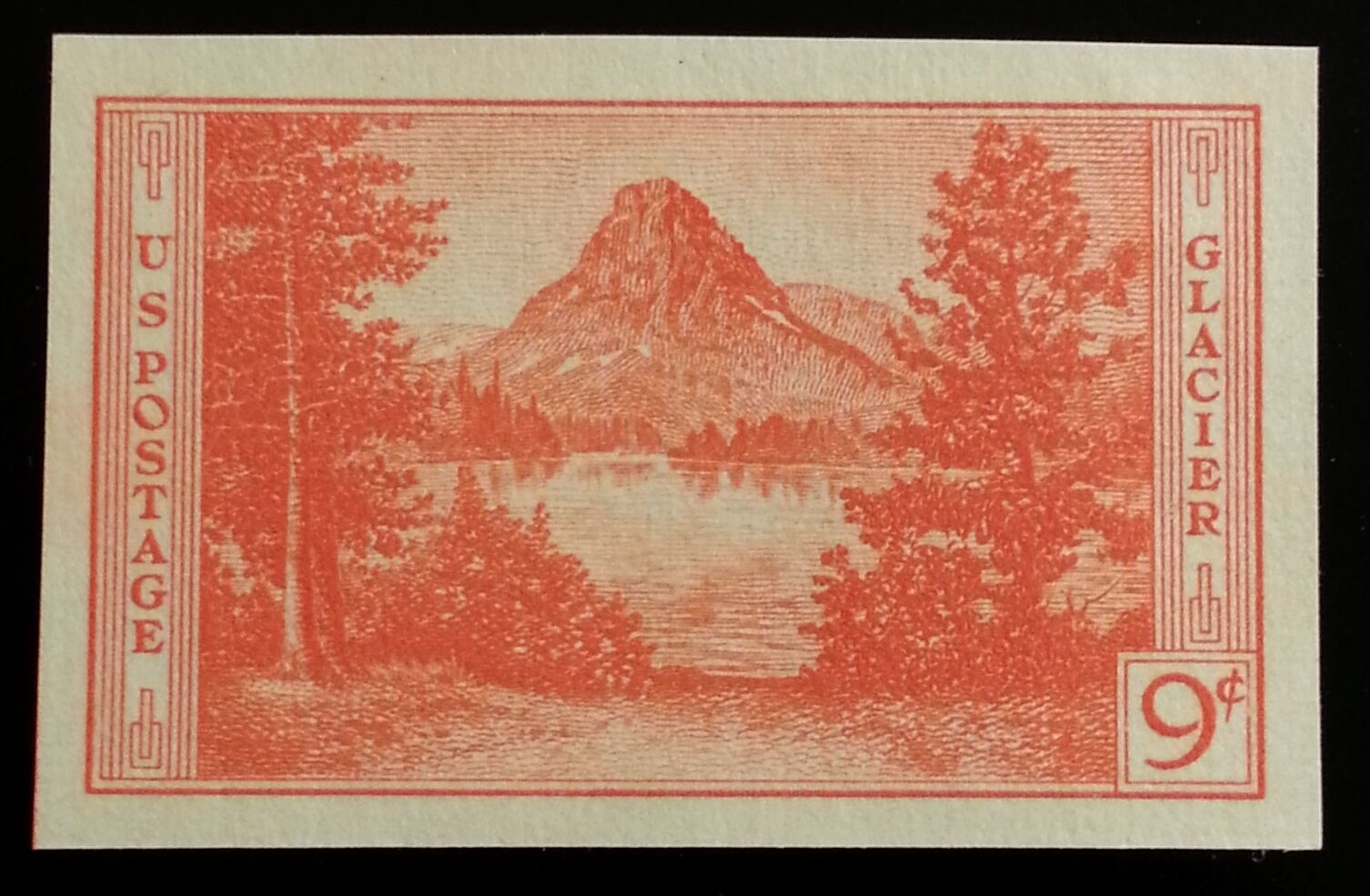 1935 9c Glacier, Imperforate Single Stamp issued withou