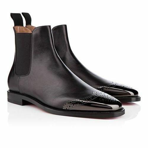 De hombre hecho a mano Negro Patente Cuero Botas Chelsea Puntera Ropa Formal Informal Zapatos Nuevos