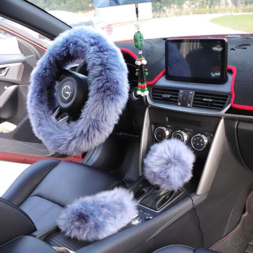 Auto Imitation Wolle Grau Soft Comfort Lenkradbezug Plüsch Komfortable Hübsch