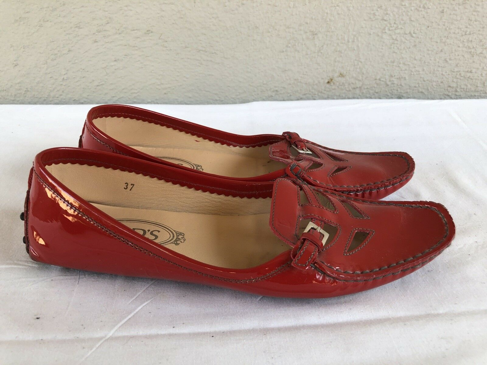 299 TOD'S 37 US 6.5 Bright rosso Patent Leather Loafer Flat Moc Slip On scarpe A