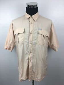 E40-Columbia-Mens-XL-Beige-100-Nylon-Sportswear-Short-Sleeve-Button-Up-Shirt