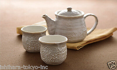 Minoyaki Pottery Tea Set : White Floral - 1 teapot & 2 teacups - Casual ceramic