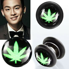 Pair Fake Illusion Non Piercing Magnetic Marjuanna Leaf Black Ear Gauge Plugs 0G