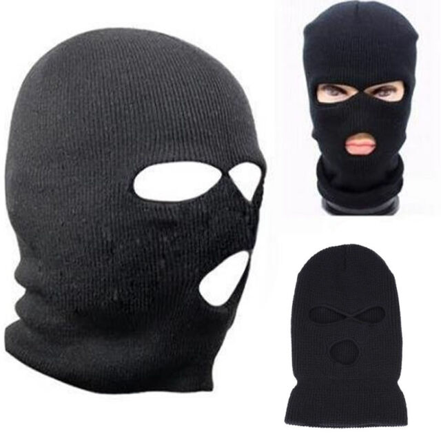 3 Holes Balaclava Punk Style Mask Neck Warmer Black Hat – Ski Paintball Fishing