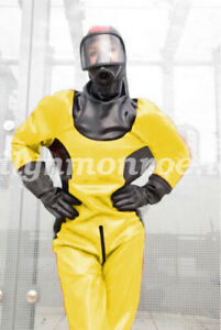 100-Latex-Rubber-Kostum-Costume-Ball-Firefighter-Catsuit-Bodysuit-Size-XXS-XXL