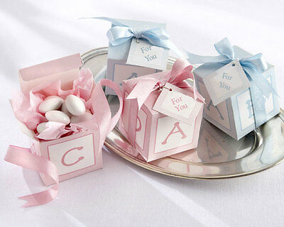 40pk Baby Shower Boy - Girl Blue and Pink Blocks Favour Gift Boxes
