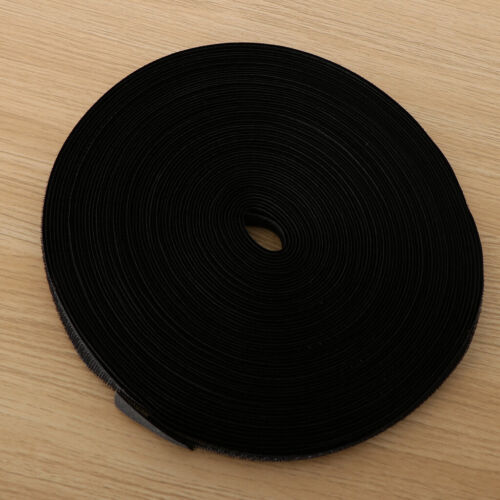 25m// 82ft// 27.3yd Hook Tape Fastener Fastening Cable Tie for Crafting Black