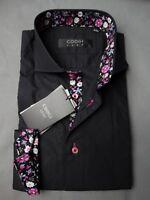 Nwt's Men's Coogi Luxe Black W/floral Cuffs & Collar Woven Dress Shirt