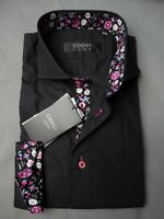 Nwt's Men's Coogi Luxe Black W/floral Cuffs & Collar Woven Dress Shirt