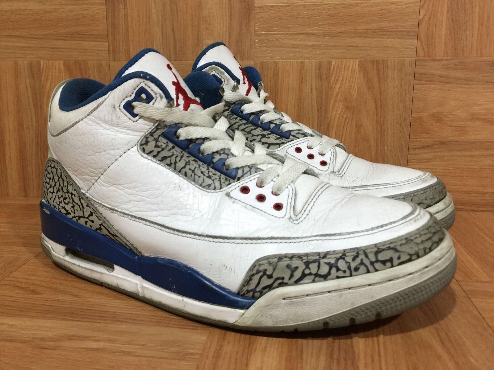 RARE Nike Air Jordan 3 III Retro True Blue White Lthr Cement Gray 9 136064-104