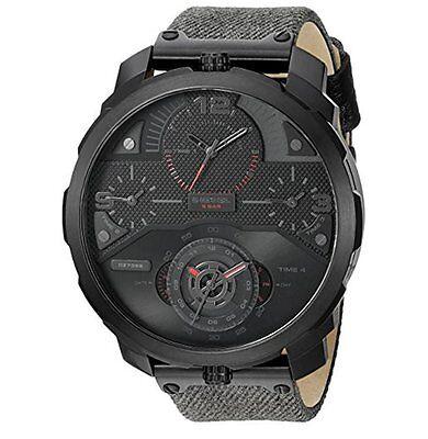 Diesel Men's Machinus 4 Time Zones Black Steel Case Green Denim Watch DZ7358