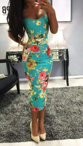Floral Strappy Midi Bodycon Dress in Turquoise RRP £39.99
