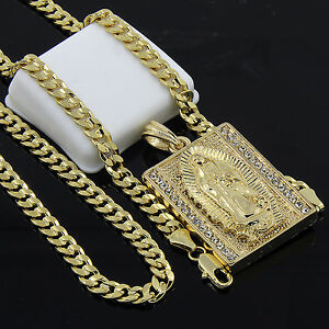 Mens-Gold-Plated-Hip-Hop-Block-Virgin-Mary-Pendant-24-034-Cuban-Chain-Necklace-D534