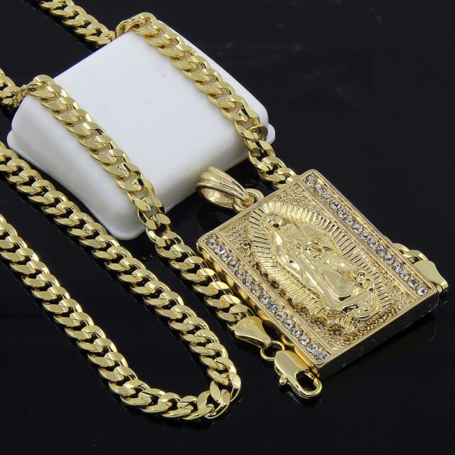 "Mens Gold Plated Hip-Hop Block Virgin Mary Pendant 24"" Cuban Chain Necklace D534"
