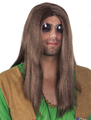 Adulte hommes 60s 70s longue brun foncé droite john lennon hippy hippy costume perruque
